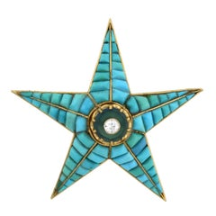 Victorian Tourmaline, Diamond, Calibrated Turquoise Starburst Pin Pendant
