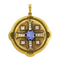 Victorian Sapphire Diamond Maltese Cross Pendant