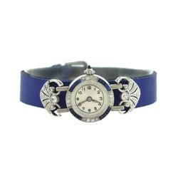 Edwardian Ladies Platinum Diamond Sapphire Manual Wristwatch