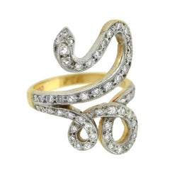 Retro Mixed Metals Diamond Snake Ring