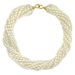 Paloma Picasso for Tiffany & Co. Natural Pearl Ten Strand Collar Necklace