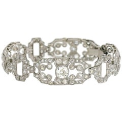 Art Deco 11.50 Total Carat Diamond Fancy Link Platinum Bracelet