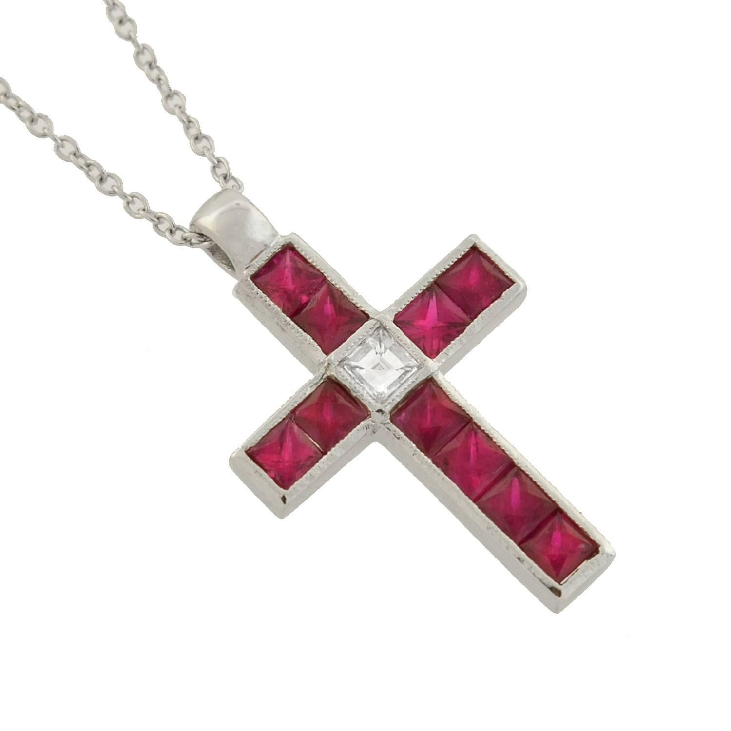Vintage french cut ruby diamond cross pendant necklace at 1stdibs aloadofball Choice Image