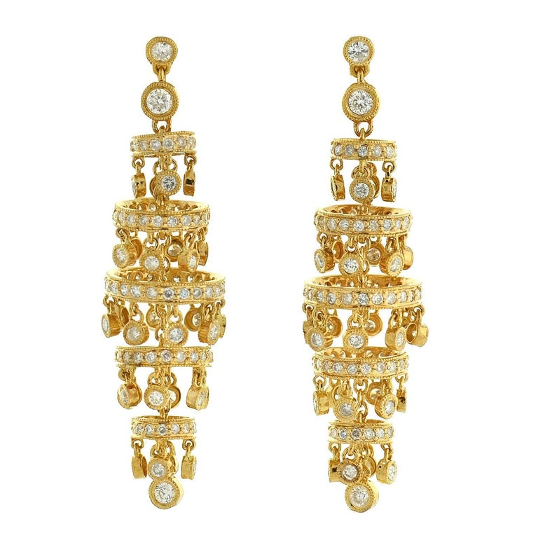Contemporary Diamond Gold Chandelier Earrings For