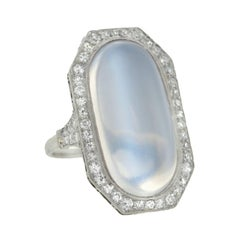 Edwardian 10 Carat Moonstone Diamond Platinum Cocktail Ring