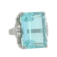 Retro 33 Carat Aquamarine Diamond Platinum Cocktail Ring