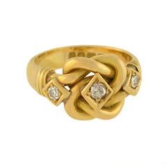 Edwardian Diamond Gold Love Knot Ring