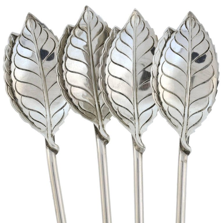 Tiffany & Co. Vintage Set of Four Sterling Silver Iced Tea Sipping Spoons 1