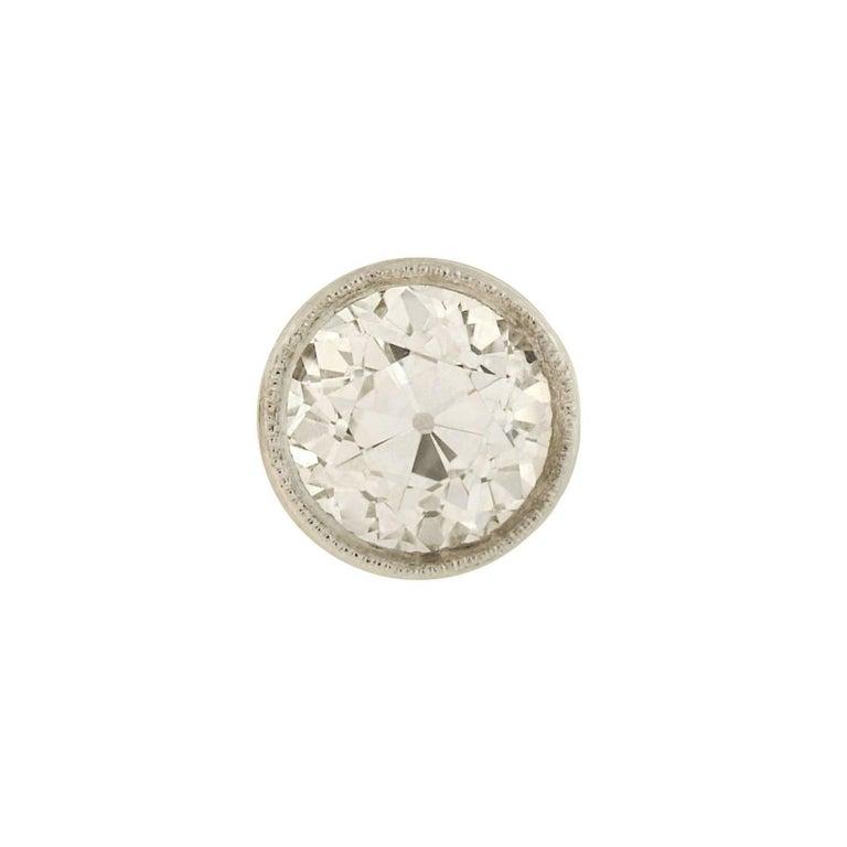 Old European Cut Art Deco Martini-Set 2.26 Total Carats Old European Diamond Stud Earrings For Sale