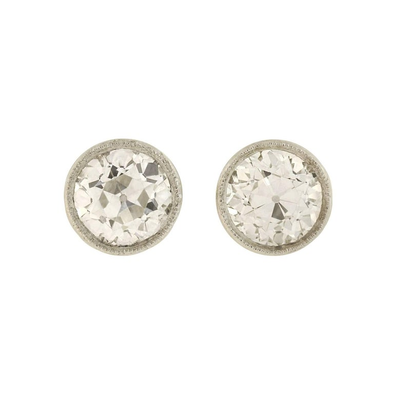 Art Deco Martini-Set 2.26 Total Carats Old European Diamond Stud Earrings For Sale