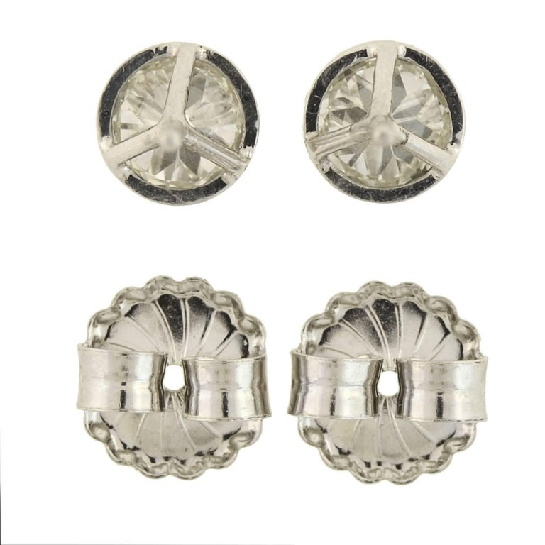 Art Deco Martini-Set 2.26 Total Carats Old European Diamond Stud Earrings For Sale 2