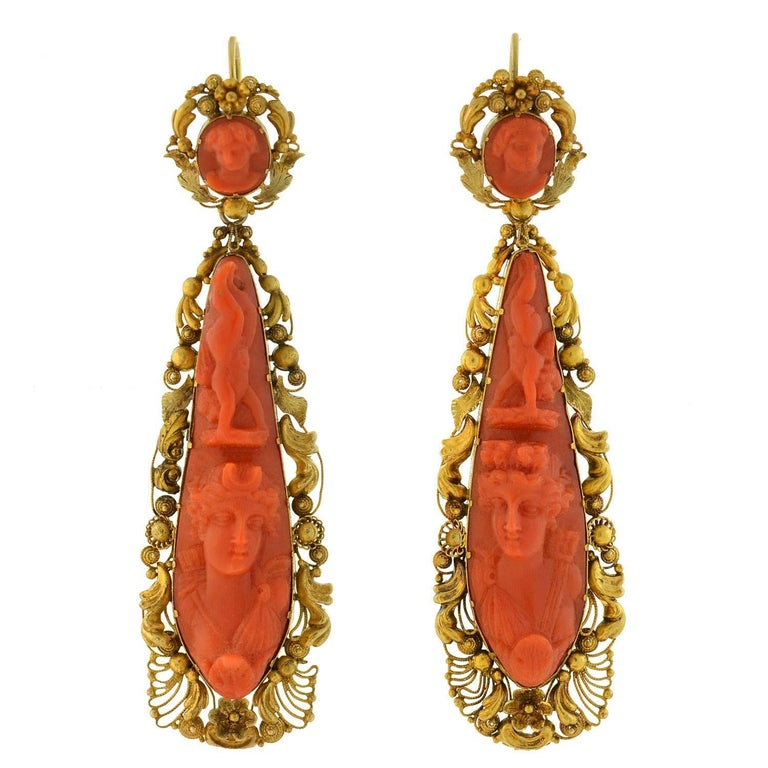 Victorian Dramatic Carved Coral Cannetille Wirework Day Night Earrings
