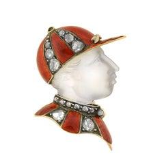 "Victorian French Diamond Moonstone Enameled ""Fred Archer"" Jockey Pin"