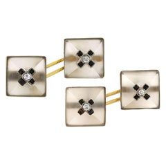 Art Deco Carved Rock Quartz Crystal, Onyx and Diamond Cufflinks