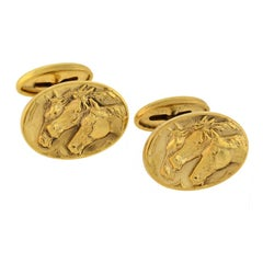 Late Victorian Photo Finish Multi Horse Motif Gold Cufflinks