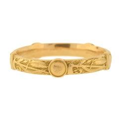 E.M. Gattle for Riker Brothers Art Nouveau Tomahawk Motif Gold Repousse Bracelet