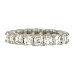 Contemporary 3.62 Total Carat Asscher Cut Diamond Platinum Eternity Band