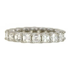 Contemporary 3.62 Total Carats Asscher Cut Diamond Platinum Eternity Band