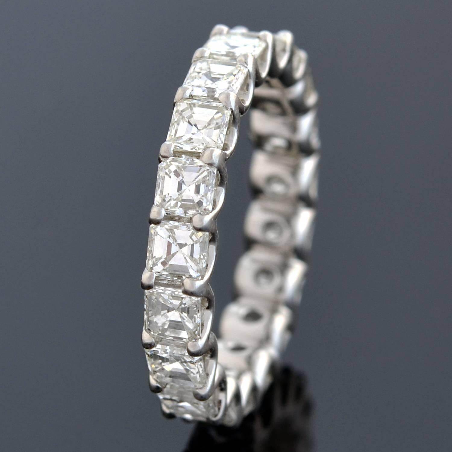 platinum with diamond cut diamonds tds in asscher band p product ring