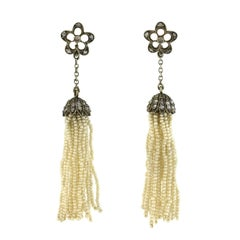 Victorian Rose Cut Diamond Seed Pearl Tassel Earrings