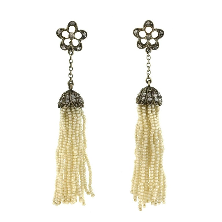 Victorian Rose Cut Diamond Seed Pearl Tassel Earrings