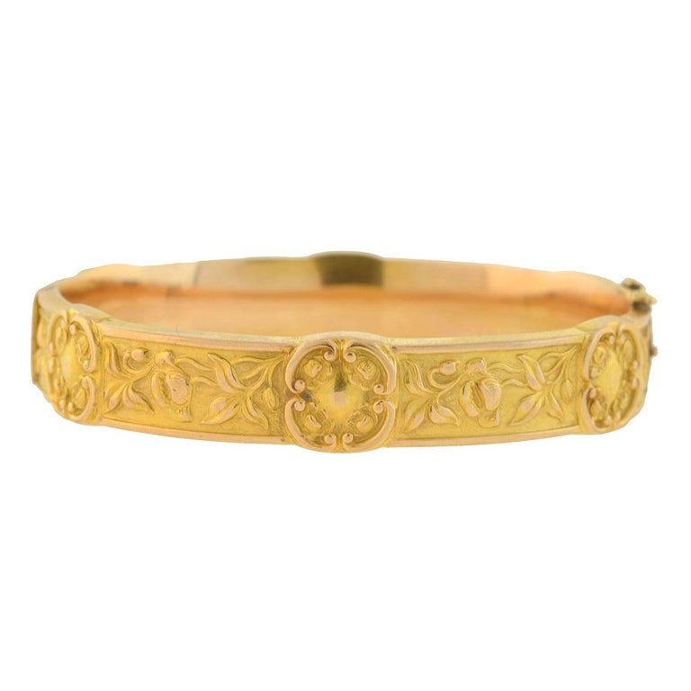 Art Nouveau Gold Repousse Bangle Bracelet With Floral Motif