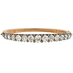 French Victorian Old Mine and Rose Cut Diamond Bangle Bracelet
