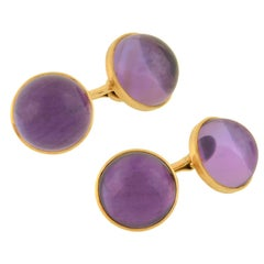 Riker Brothers Amethyst Cabochon Double-Sided Cufflinks
