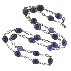 Contemporary Cabochon Sapphire Link Chain Necklace