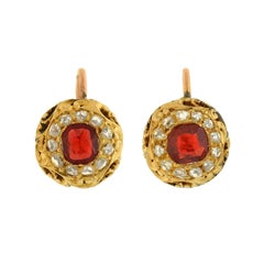 Victorian GIA Certified Natural Red Spinel Rose Cut Diamond Earrings
