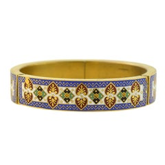 Late Victorian Enamelled Hinged Bangle Bracelet