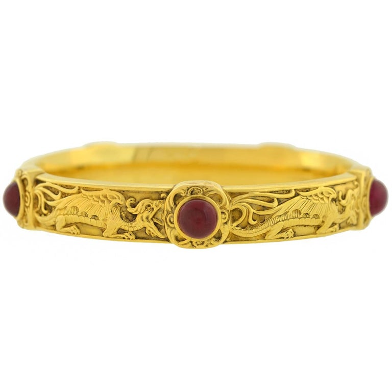 Riker Brothers Art Nouveau Cabochon Ruby Dragon Motif Bangle Bracelet For Sale