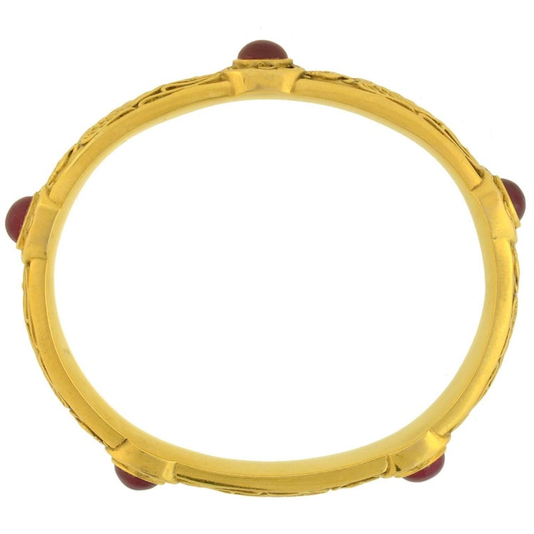 Riker Brothers Art Nouveau Cabochon Ruby Dragon Motif Bangle Bracelet For Sale 1