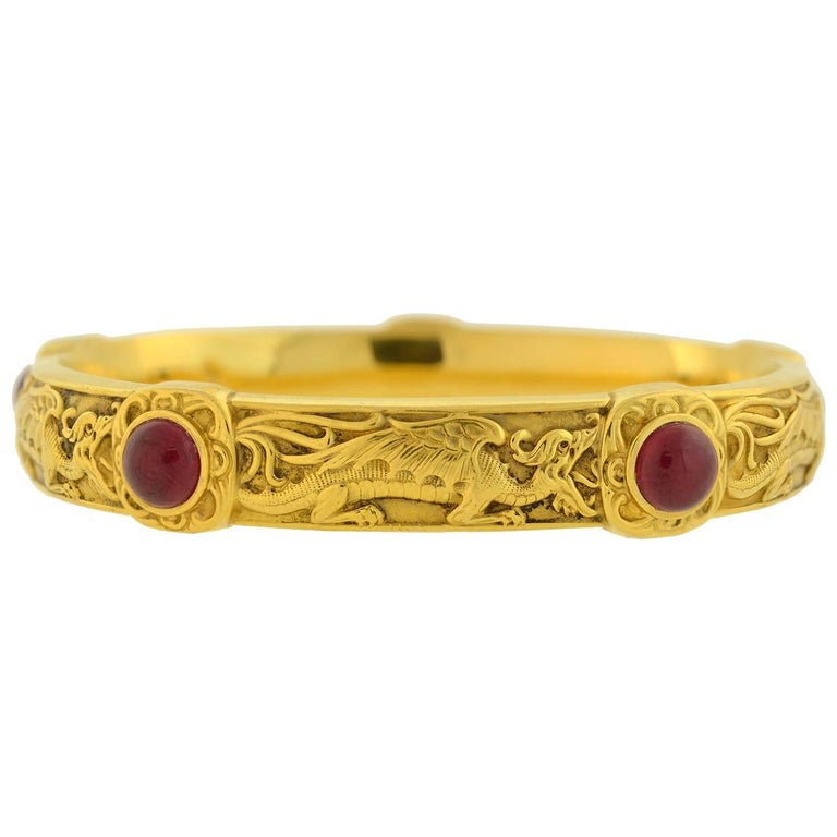 Riker Brothers Art Nouveau Cabochon Ruby Dragon Motif Bangle Bracelet In Excellent Condition For Sale In Narberth, PA
