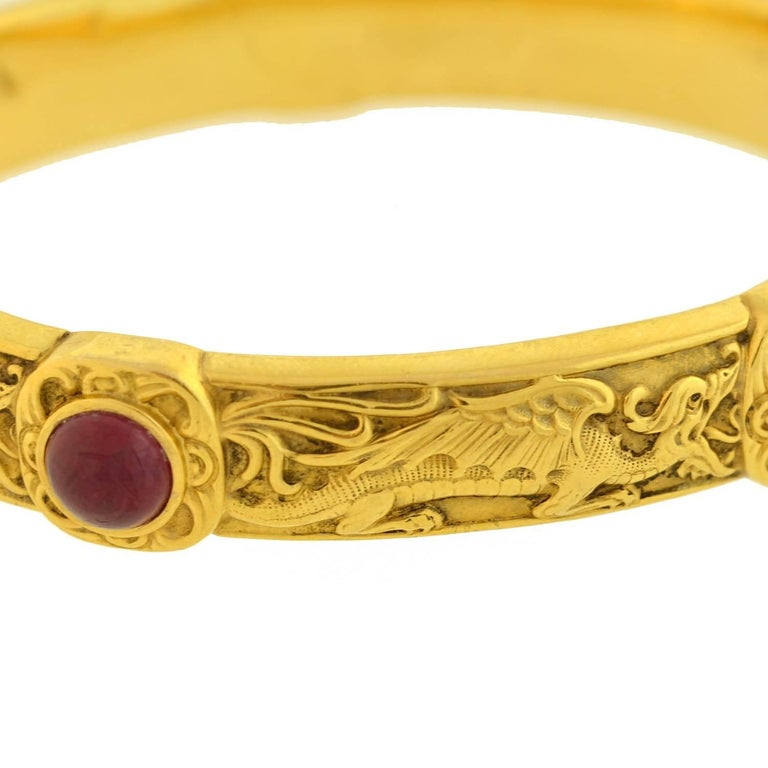 Women's Riker Brothers Art Nouveau Cabochon Ruby Dragon Motif Bangle Bracelet For Sale