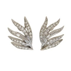 Late Retro Dramatic Diamond Wing Clip-On Earrings