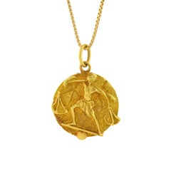Tiffany & Co. Vintage Libra Zodiac Gold Pendant Necklace