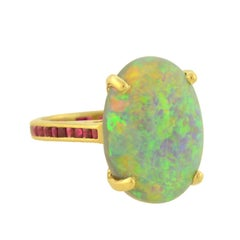 Estate 10.00 Carat Opal Ring with Calibrated Ruby Band