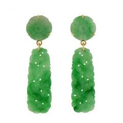 Art Deco Hand-Carved GIA-Certified Natural Jadeite Jade Earrings