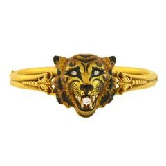 Victorian Enameled Tiger's Face Locket Bangle Bracelet