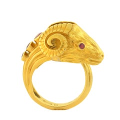 Lalaounis Contemporary Ruby Diamond Gold Ram's Head Ring