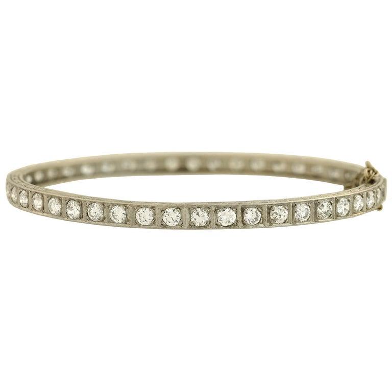 Art Deco 5 Total Carats Old European Cut Diamond Bangle Bracelet