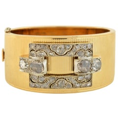 Retro Gold Bangle Bracelet with Victorian Era Rose Cut Diamond Buckle Front