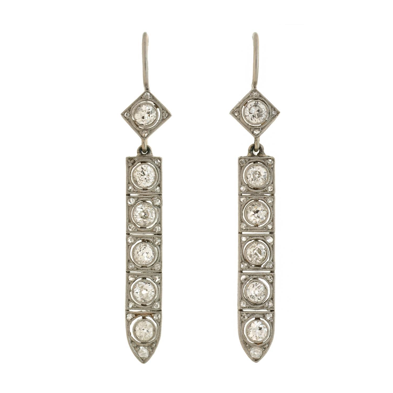 Art Deco Diamond Drop Earrings 2 50 Total Carat For Sale at 1stdibs
