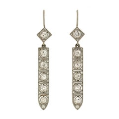 Art Deco Diamond Drop Earrings 2.50 Total Carat