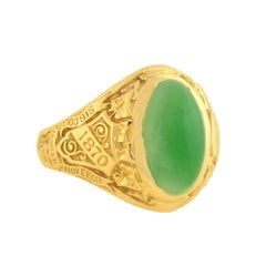 Tiffany & Co. Art Deco Jade Cabochon Hunter College 1928 Class Ring