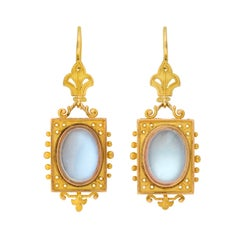 Victorian Moonstone Cabochon Etruscan Earrings