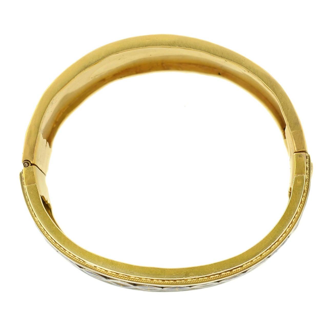 Victorian Blue Enamel Etruscan Gold Bangle Bracelet For Sale 1