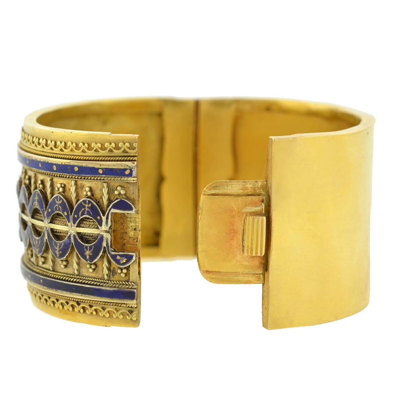 Women's Victorian Blue Enamel Etruscan Gold Bangle Bracelet For Sale