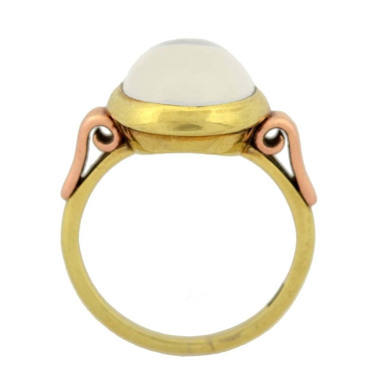 Women's Art Nouveau Mixed Metals Moonstone Cabochon Ring